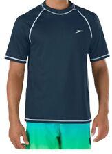 Speedo Men's UPF 50+ Easy Short Sleeve Rashguard Swim Tee Navy Small