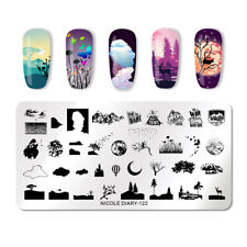 NICOLE DIARY Stamping Plates Rectangle Nature Series Nail Art Templates ND-122