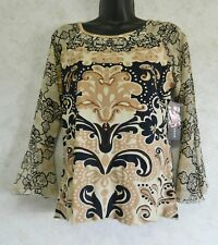 Tease Brand Ladies Pull Over Embellished Top Knit Rayon Raglan Sleeve Size Med
