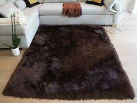 8'x10' Feet Dark Brown Solid Plush Shag Shaggy Rug Hand Tufted Woven Rug New