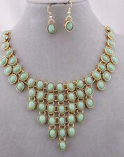 Fashion Jewelry Necklace Set Gold With Green Acrylic Stone Bib Style NEW