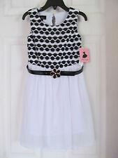 NWT Girl's Amy's Closet Black,White Sheer Sleeveless Dress w/black belt sz 5