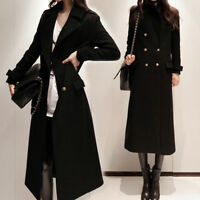 New Womens Double Breasted Lapel Slim Wool Blend Parka Long Trench Coat Jackets