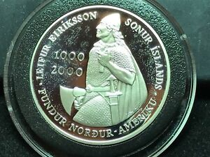 T2: Iceland 2000, 1000 Kroner Silver Proof. Lief Erickson. Free Shipping in U.S.