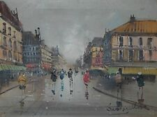 Original Oil On Canvas European City Scape Street Scene W/ People Signed