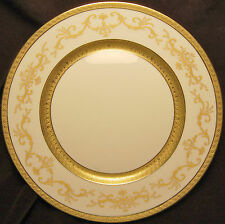 A. Raynaud & Co. Medicis Dinner Plate White with Detailed Gold Incrustation