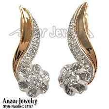 14k Rose (Pink) & White Gold Genuine .42 CWT Diamond Malinka Earrings #E1127
