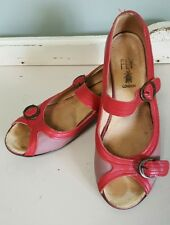 Fly London Purple Red Mary Jane Buckle Open Toe Flats Size 37 6.5 US