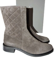 2cad474b3352 Aquatalia Gray Quilted Suede Mid BOOTS Flat Ankle ZIPPER BOOTIES Sz 9