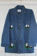 Casey Coleman small denim Panda Jean jacket hip length Ladies womens casual