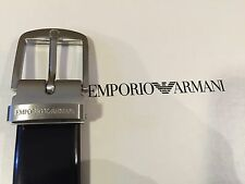 Brand New Emporio Armani Plain Black Leather Men's Belt Free Size Made In Italy