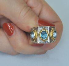 Konstantino 3 Blue Topaz Ring Sz 7 Sterling Silver 18K Yellow Gold New