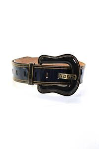 Fendi Womens Patent Leather Zucca FF Logo Waist Belt Navy Blue Size 34