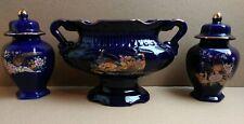 3 Piece Set Interpur Cobalt Blue Ceramic Pheasant Asian Urn Planter Ginger Jar