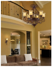 Hampton Bay 6-Light Hanging Antique Bronze Chandelier with Glass Shades