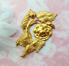 Brass Rose ~ Rose Bud Large Flower Stamping ~ Floral Finding (Fc-22)