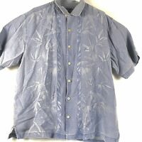 Tommy Bahama Silk Button Hawaiian Camp Shirt Floral Textured Men's XL Blue