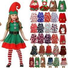 Christmas Kids Girls Elf Santas Helper Costume Xmas Elk Party Fancy Swing Dress