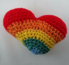 "Crocheted Pillow 5x7"" Heart-Shaped Rainbow Colors"