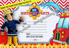 FIREMAN SAM CHILDRENS KIDS BIRTHDAY PARTY INVITATIONS INVITES  X10 THICK cards
