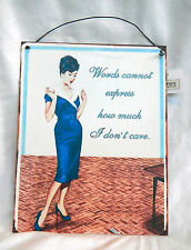 Retro Enamel Sign / Plaque  Words can't express how much I don't Care  - NEW