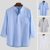 Men's Casual Tops Chinese Style V Neck Shirt Linen Loose Ethnic Summer Tee Tops