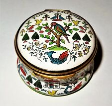"Halcyon Days Enamel Box- ""For A Friend"" - 18Th Century Sampler - Birds - Flowers"
