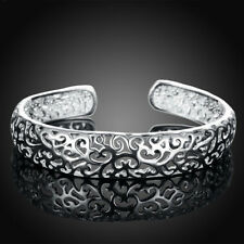 Stylish design gift solid sterling silver jewelry bangle bracelet E925 UK Seller