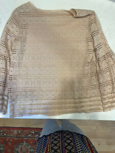 Max Studio Women's longBell Sleeve Blouse Top  Size S Peach Lace Overlay Boho