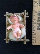 Vintage CHRISTMAS Nativity  Baby Jesus Made In Italy Figure CARDBOARD BED CRADLE