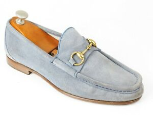 Gucci 1953 Anniversary Light Blue Suede Horsebit Loafers 7 UK / 8 US