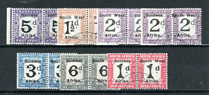 South West Africa 1927 Postage Due set to 6d + 2d shade FU CDS horizontal pairs