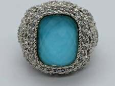 JUDITH RIPKA Sterling Silver Large Ring Turquoise Cabochon Clear Stone Heart Sz5