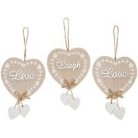 Wooden Heart Shabby Chic~Live, Laugh, Love, Family, Friend, Home Gift Free P&P