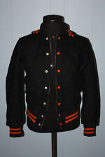 Vintage Union Made ACTWU Black Orange Snap Letterman Jacket 32