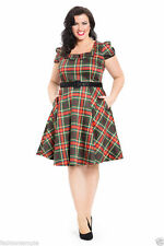 Knee Length Cotton Blend Check Dresses for Women