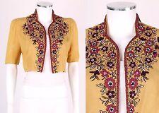 Vtg 1930s Sraeel & Jabaly Miami Beach Yellow Floral Beaded Crepe Jacket Bolero