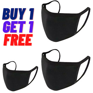 2X Face Mask Black Breathable Cotton Washable Reusable With Wire Buy1Get1Free