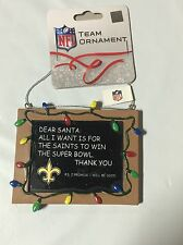 New Orleans Saints Chirstmas Tree Ornament Chalkboard All I want is a Superbowl