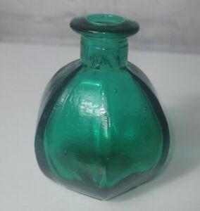 Old vintage hexagonal base blue green glass inkwell bottle inkpot