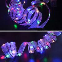 LED Silk Ribbon String Fairy Lights Christmas Xmas Wall Window Decoration