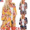 Plus Size Women Holiday Chiffon Floral Kimono Cardigan Ladies Summer Tops Coat
