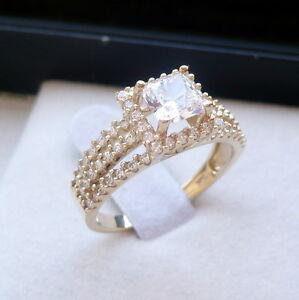 14K SOLID GOLD LADIES princess cut CZ ENGAGEMENT PROMISE RING size 7