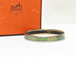 Auth HERMES Email PM Bangle Bracelet Leaf Star Blue Green Austria 18621567