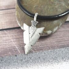 Silver Alloy Native American Arrowhead Pendant 3mm Black Leather Choker Necklace