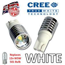 2 x SUPER BRIGHT 5w Cree 501 LED Bulbs Side Plate Interior W5W 501 T10