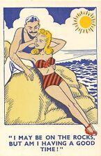 POSTCARD    COMIC   Seaside  Couple  On  the  Rocks
