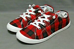 ROSY brand womens casual athletic shoe sizes 6.5 - 9 M red plaid NEW