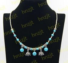 Women Tibetan Silver Blue turquoise Elephant Pendant Necklace Costume Jewellery