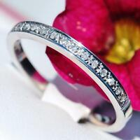 14k white gold wedding band ring 0.20ct natural diamond size 7 vintage 1.8gr